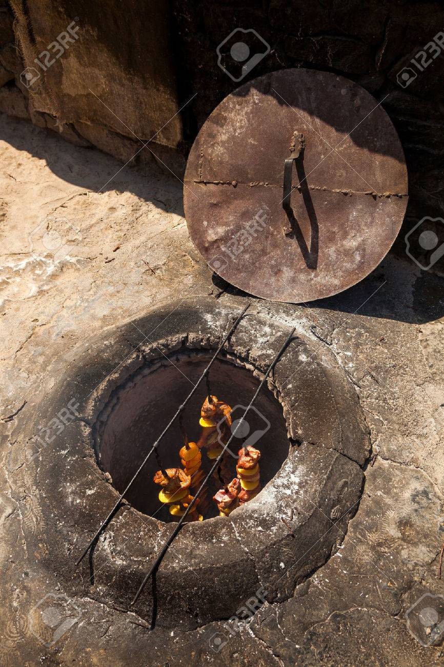 the shish kebab which is fried in the underground furnace the