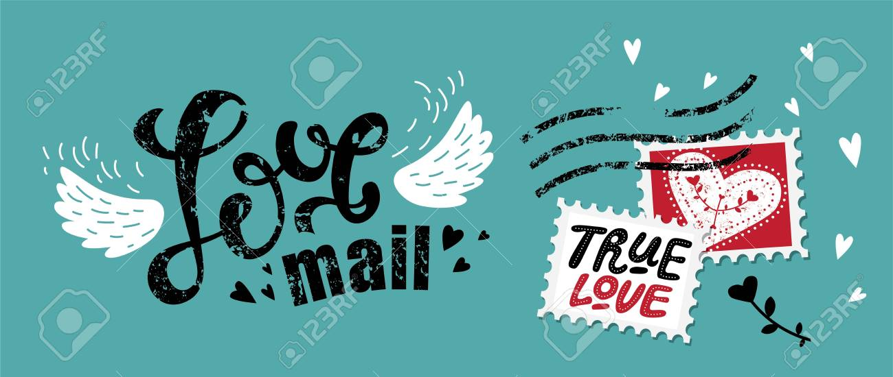 Lettering Love mail in the form of postage stamp postage stamps