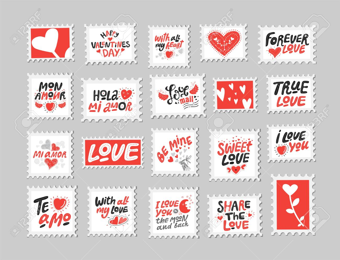 love post stamps set love quotes sayings hand drawn lettering