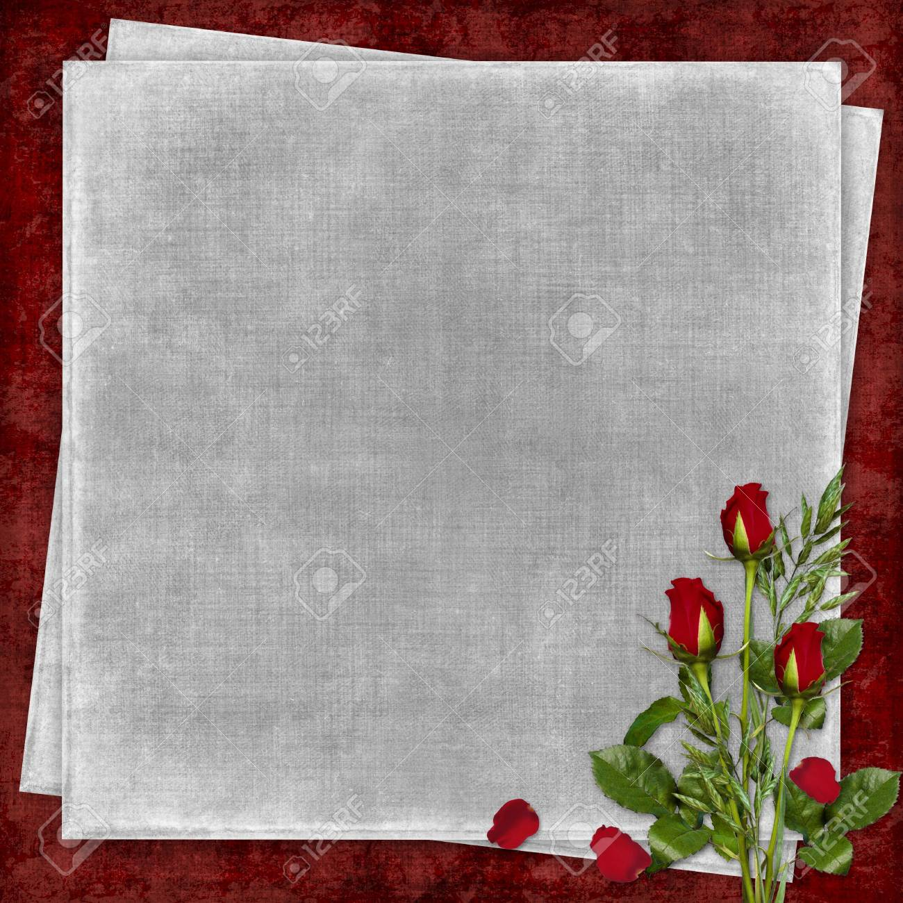 Card for the holiday with red rose on the abstract background Stock Photo - 6255492