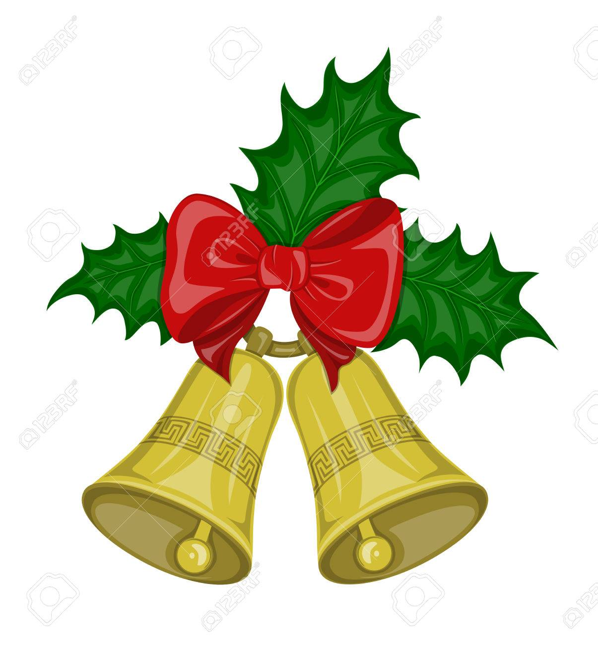 Christmas Ring.Two Christmas Bells Golden Color On The Ring With Decorative
