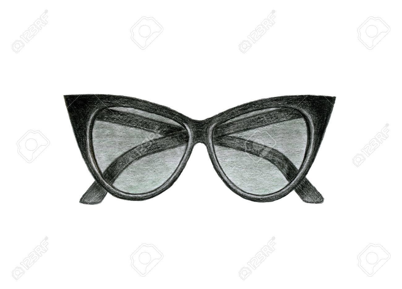 Dessin Lunettes De Soleil lunettes de soleil noir de la femme. dessin à la main avec des