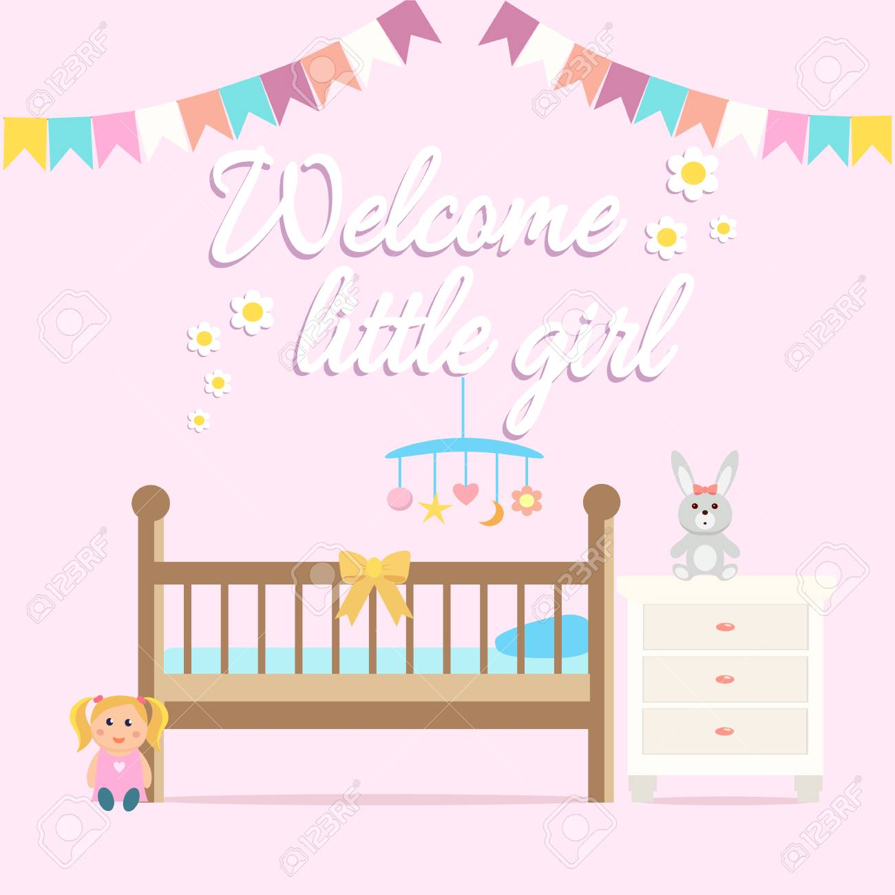 Baby Girl Shower Greeting Card Welcome Baby Girl Card With A Royalty Free Cliparts Vectors And Stock Illustration Image 90043291
