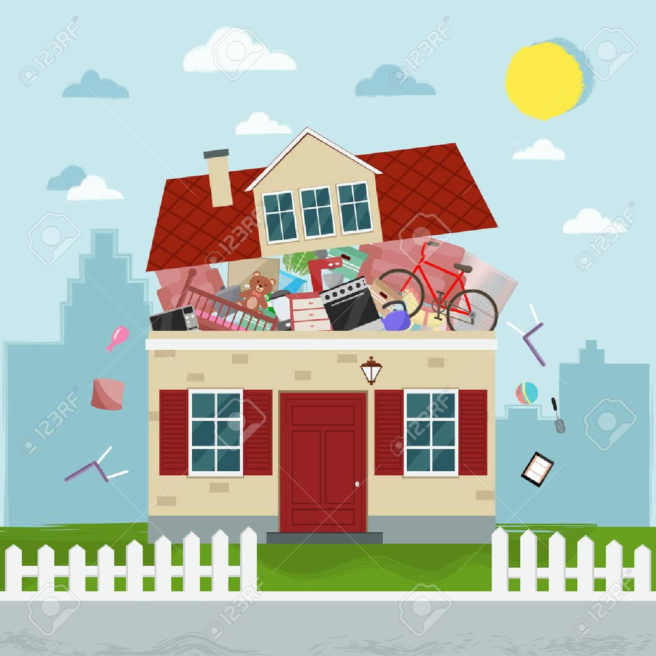 Das Konzept Des übermäßigen Konsums. Haus Platzt Vor Sachen. Vektor ...
