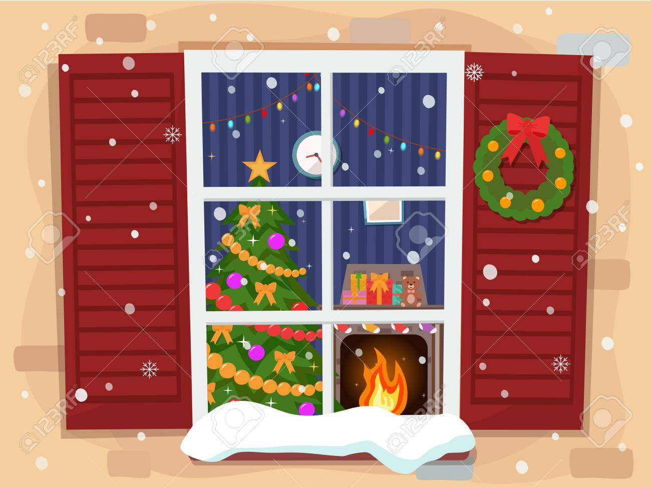 View Of The Cozy Christmas Living Room With A Tree And Fireplace