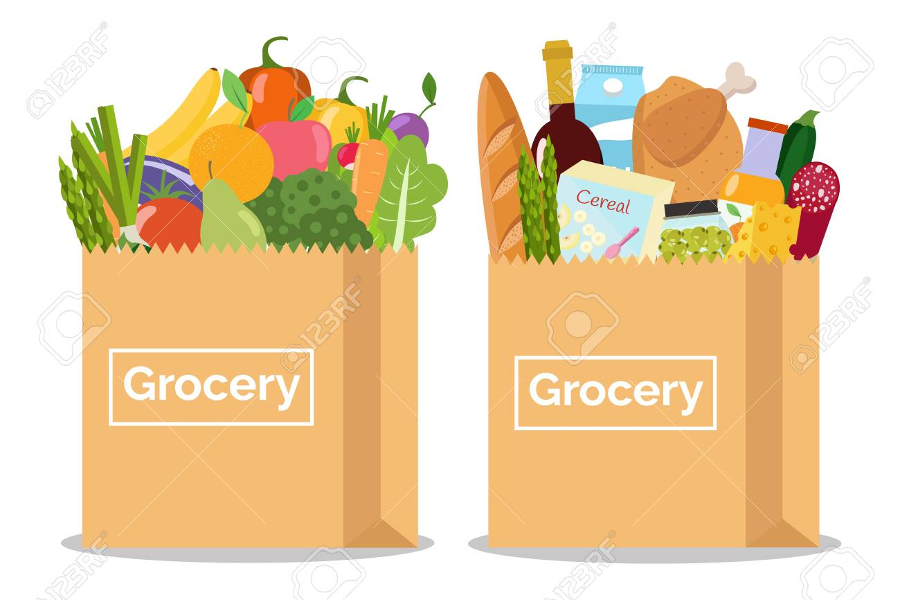 Grocery in a paper bag and vegetables and fruits in paper bag Vector illustration Flat design. - 90773123