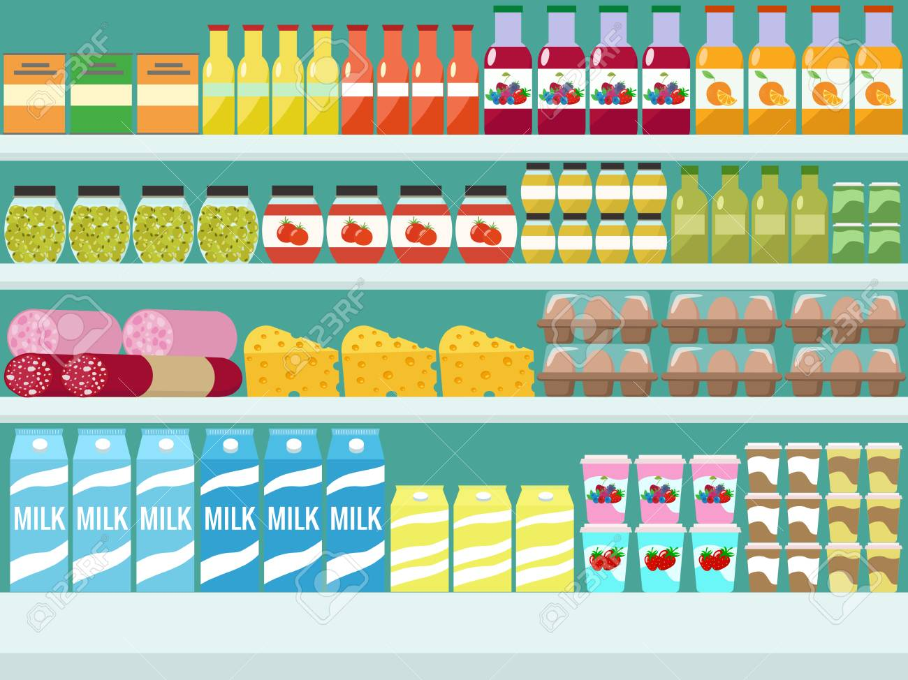 Store shelves with groceries, food and drinks. Vector flat illus - 91351391