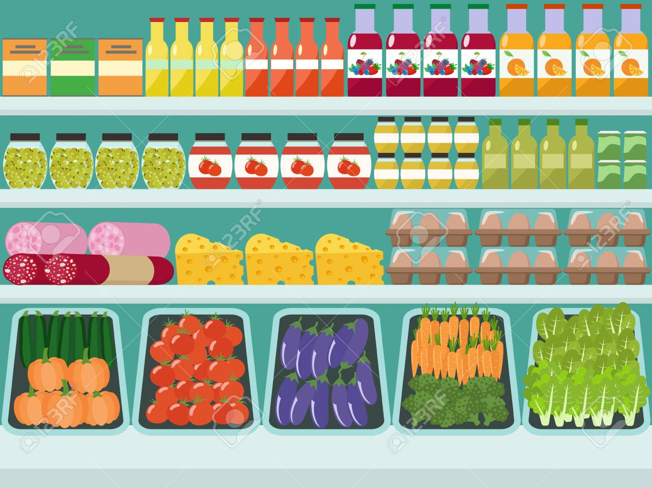 Store shelves with groceries, food and drinks. Vector flat illustration. - 91353482