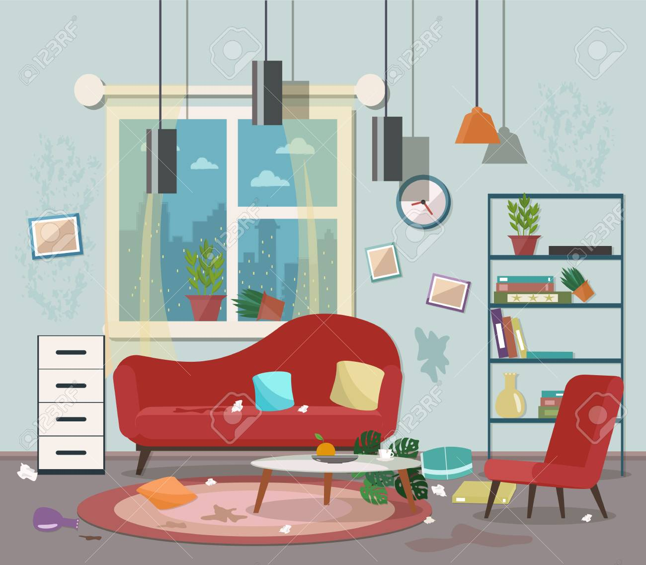 Dirty Cluttered Messy Living Room Vector Flat Illustration