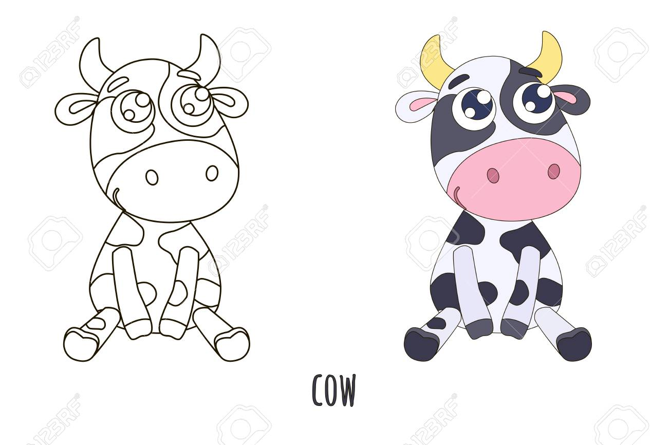 Black And White And Colored Cute Cow Vector Illustration Coloring Royalty Free Cliparts Vectors And Stock Illustration Image 114688435