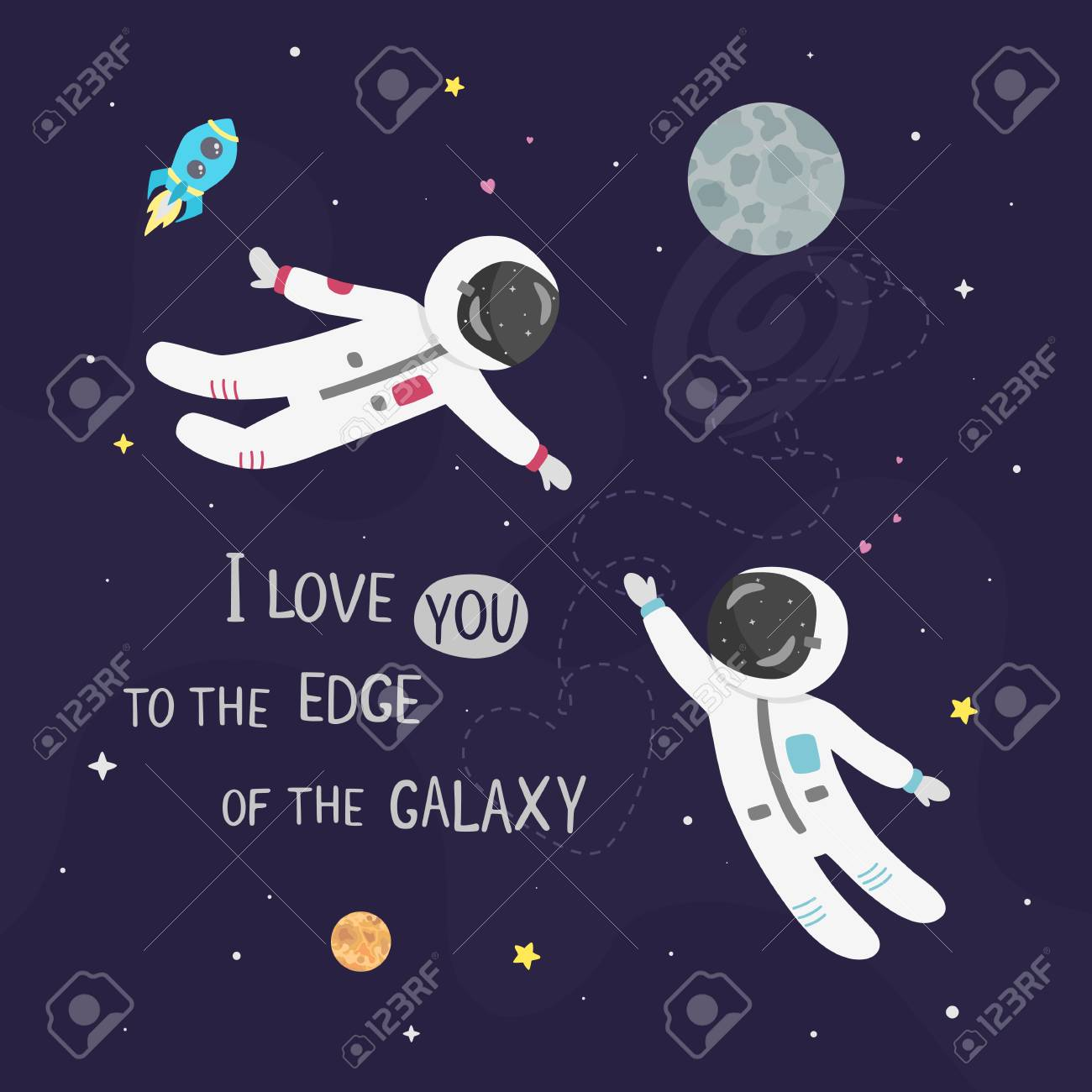 Space love vector illustration. Boy astronaut and girl astronaut fly to each other. I love you to the edge of the galaxy card. - 114979846