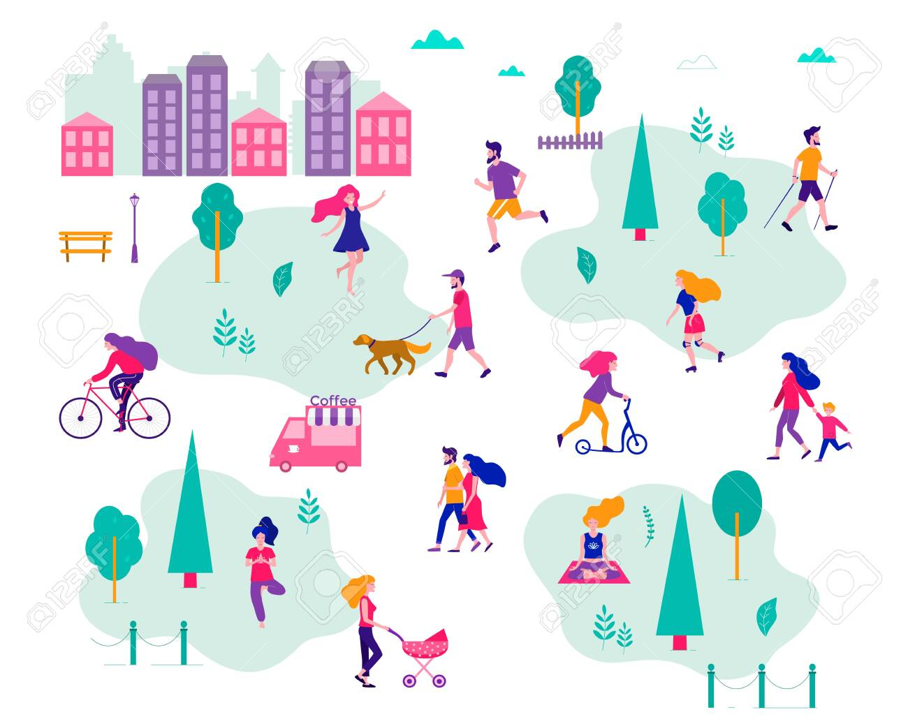 Different activities of people in the summer city. People in the park. Vector flat illustration. - 123689408