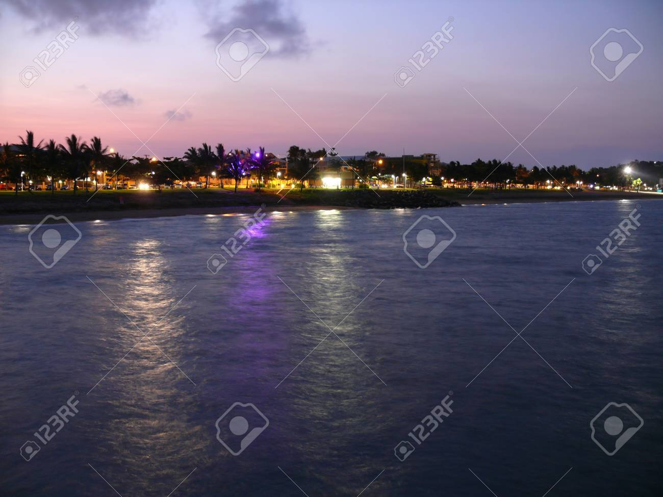 Australia. Queensland. Great Barrier Reef. The beach of Townswille in night. Stock Photo - 27127509