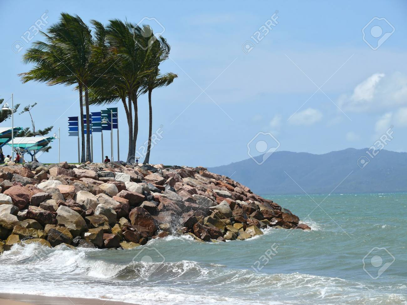 Australia. Queensland. Great Barrier Reef. The beach of Townswille in afternoon with strong wind. Stock Photo - 27127511
