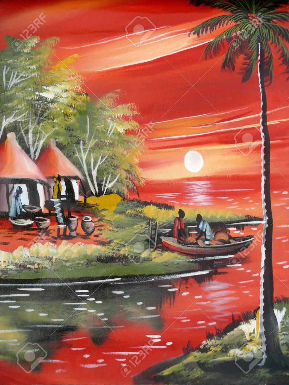 Dibujos De La Vida étnica En áfrica Mozambique Del Paisaje Naturaleza Casas En El Fondo River Las Personas Navegan En El Barco Fotos Retratos Imágenes Y Fotografía De Archivo Libres De Derecho