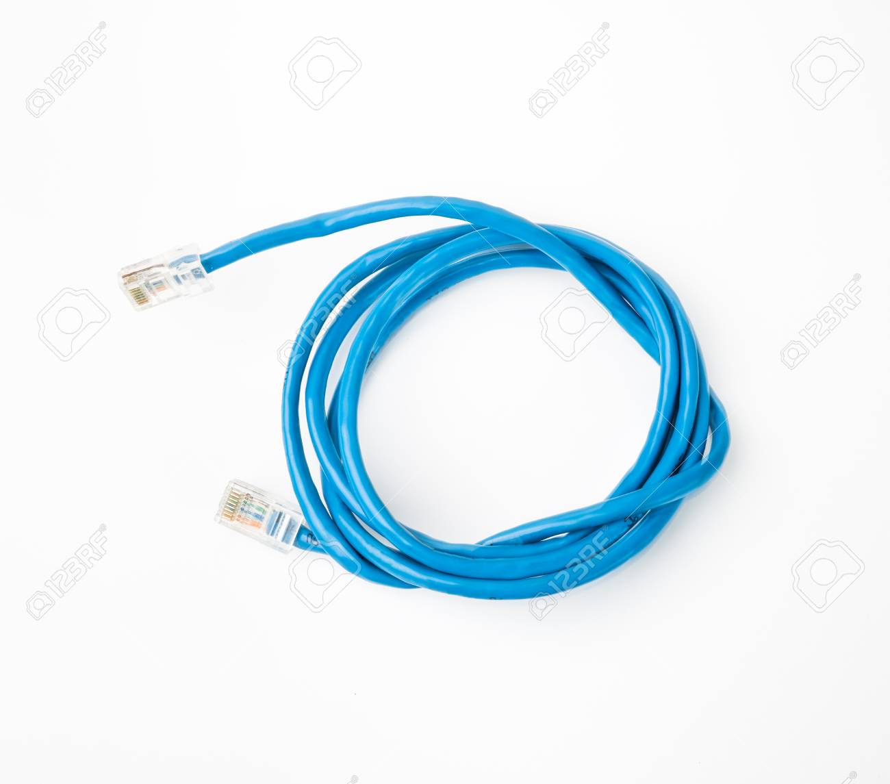 Patch Cord Blue Network Cable With Molded RJ45 Plug, Isolated ...