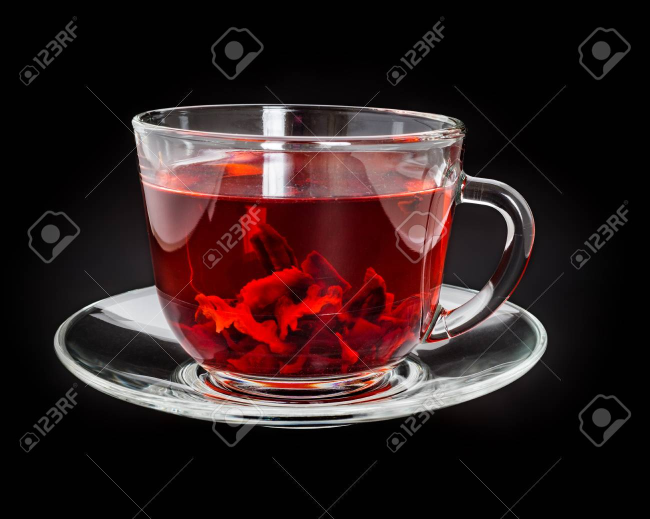 Red Hibiscus Tea In Transparent Cup On Black Backround Stock Photo
