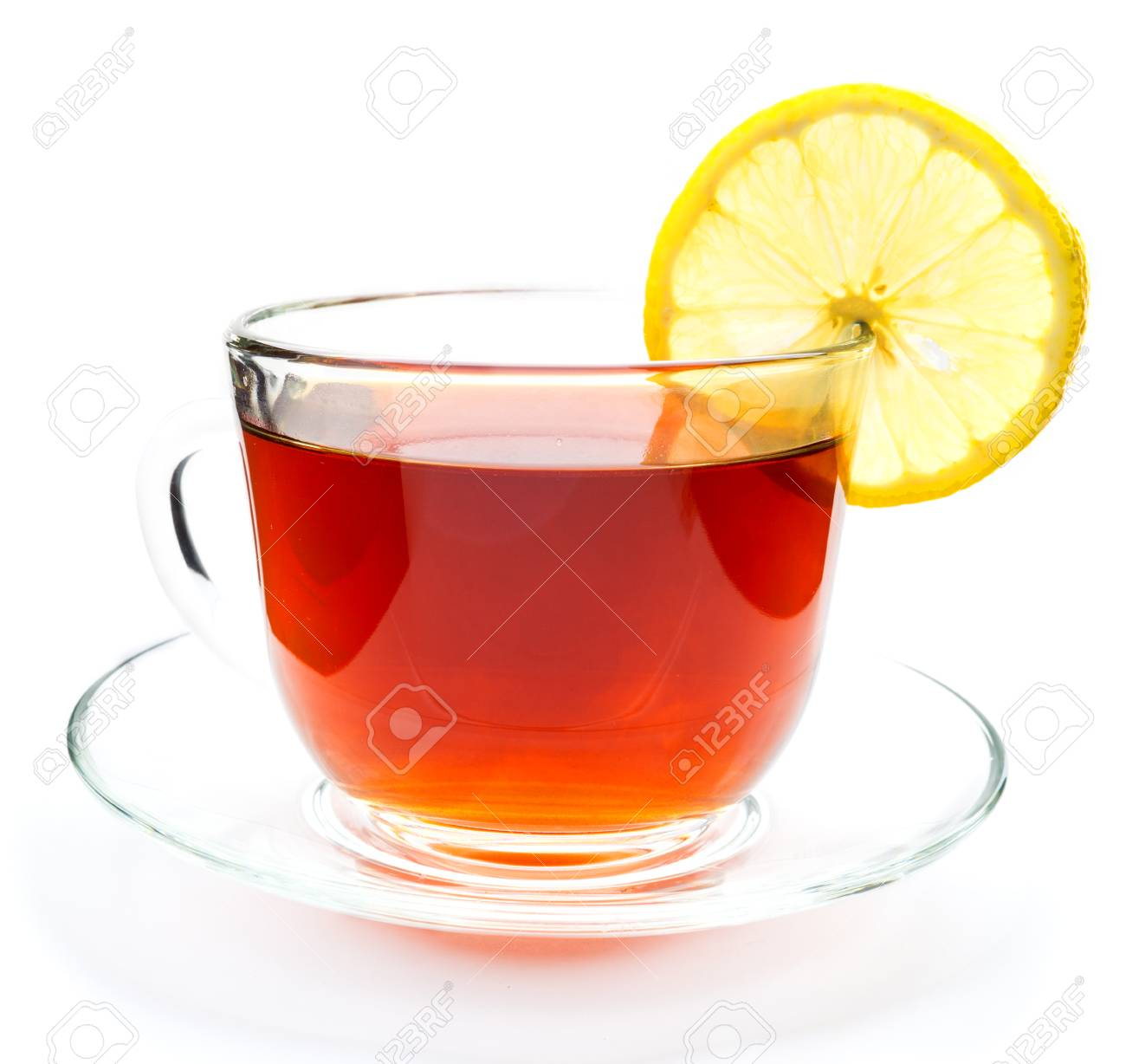 isolated transparent cup of tea with lemon slice on white background