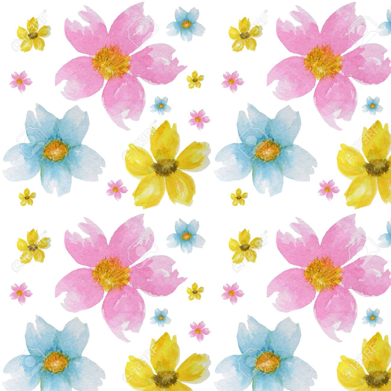 Spring Flowers Background Pattern Green Yellow Light Blue Colors Wallpaper Texture
