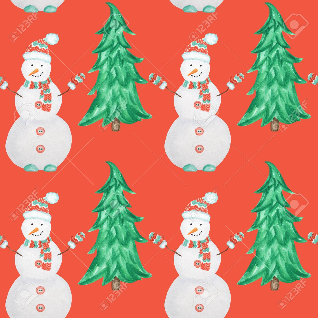 Seamless Pattern New Year Christmas Tree And Snowman Isolated Stock Photo Picture And Royalty Free Image Image 129629121