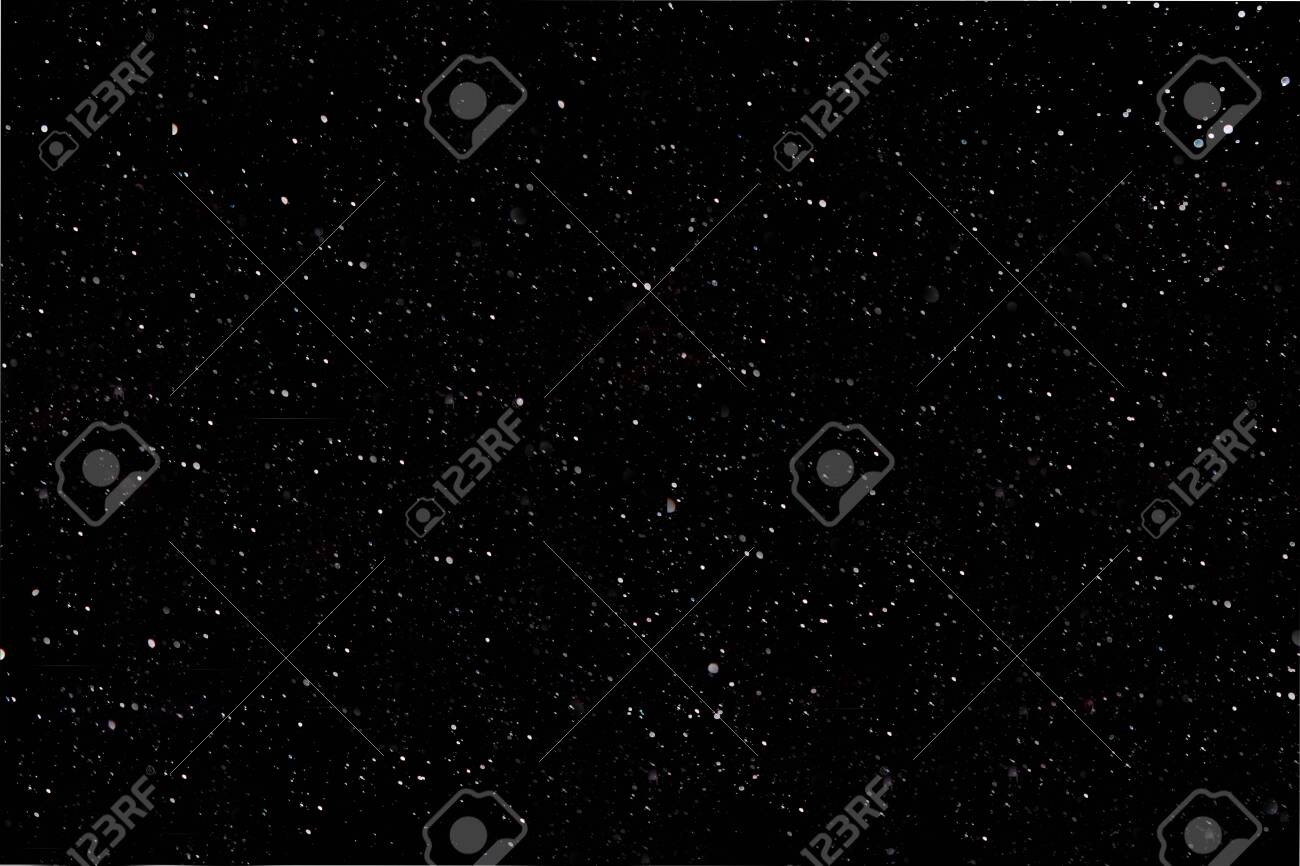 Christmas background and new year concept, textured blurred snow on a black background. Background image or layer to quickly create snow in the picture, overlay in the photo editor, out of focus - 135461560