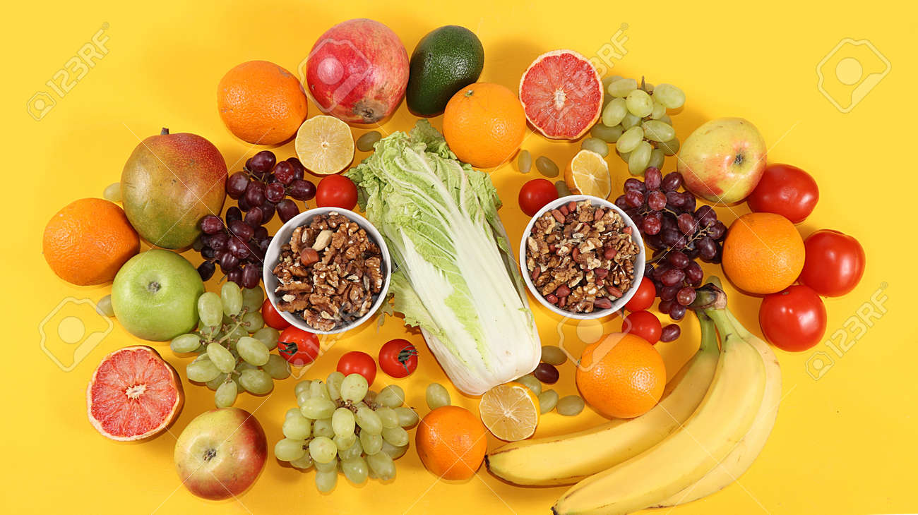 Tropical fruits, grapefruit, pineapple, grapes, granola, banner. Detox diet minimal concept. Space for text, flat lay. Healthy and natural food concept. Vitamins C, - 157226299