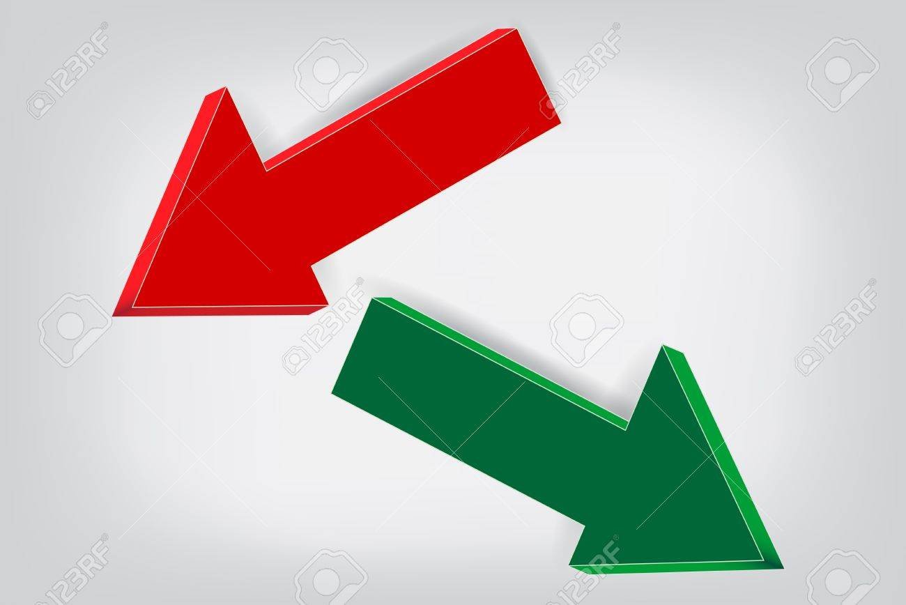 Red and green volume Arrows Stock Vector - 18775653