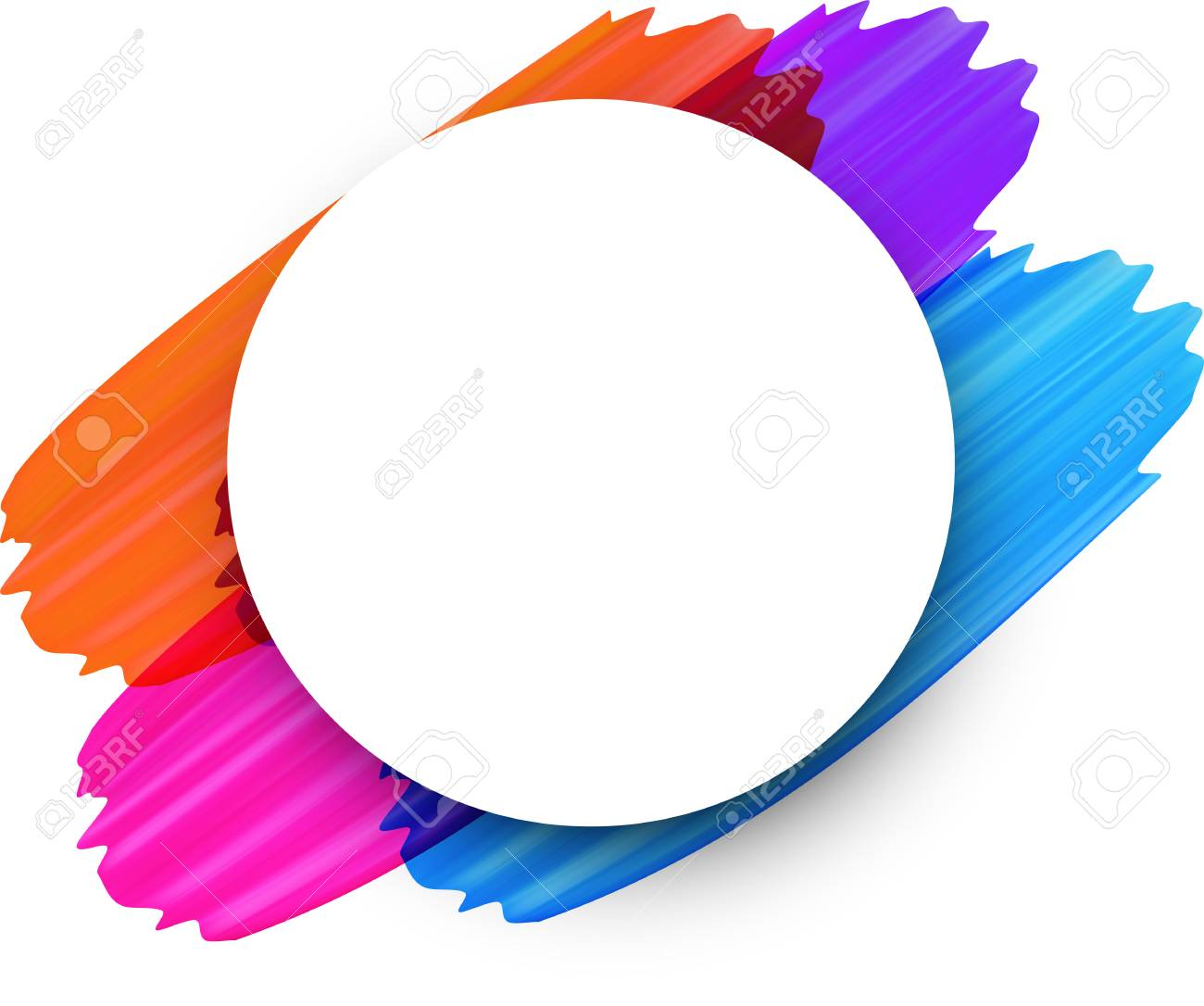 White round background with colorful paint brush strokes. Vector illustration. - 99000044