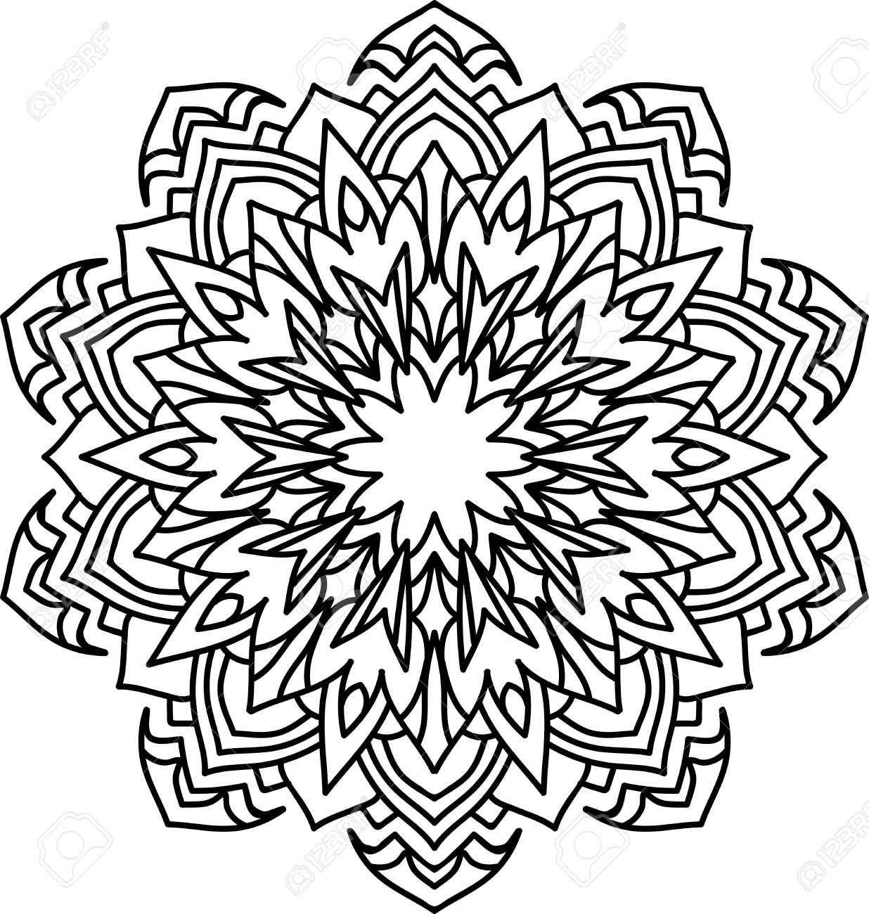 Round Mandala With Oriental Ornament For Coloring Book On White ...