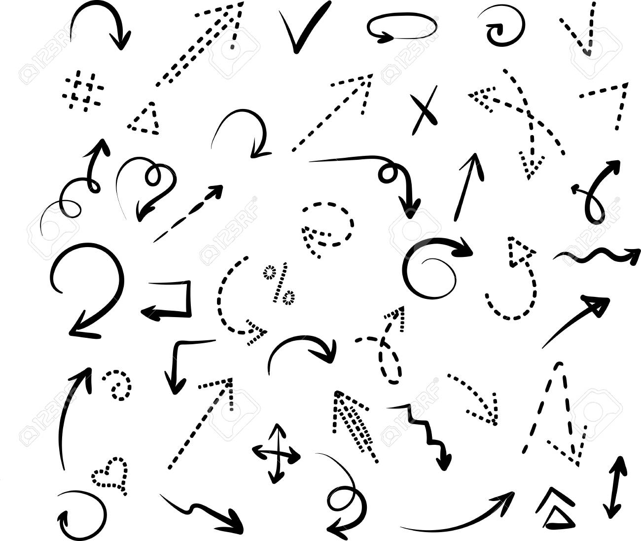 Set of black hand-drawn arrows and dotted signs isolated on white background. Vector illustration. - 100703232
