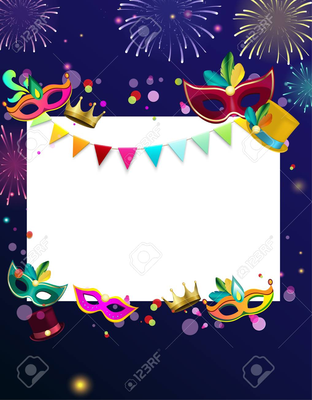 blue and white carnival background with colour masks and fireworks