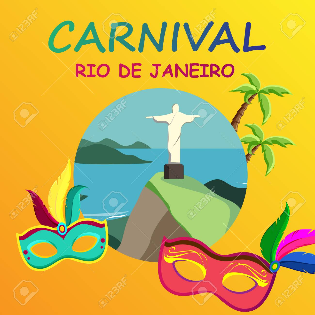 orange rio de janeiro carnival background with festive masks vector