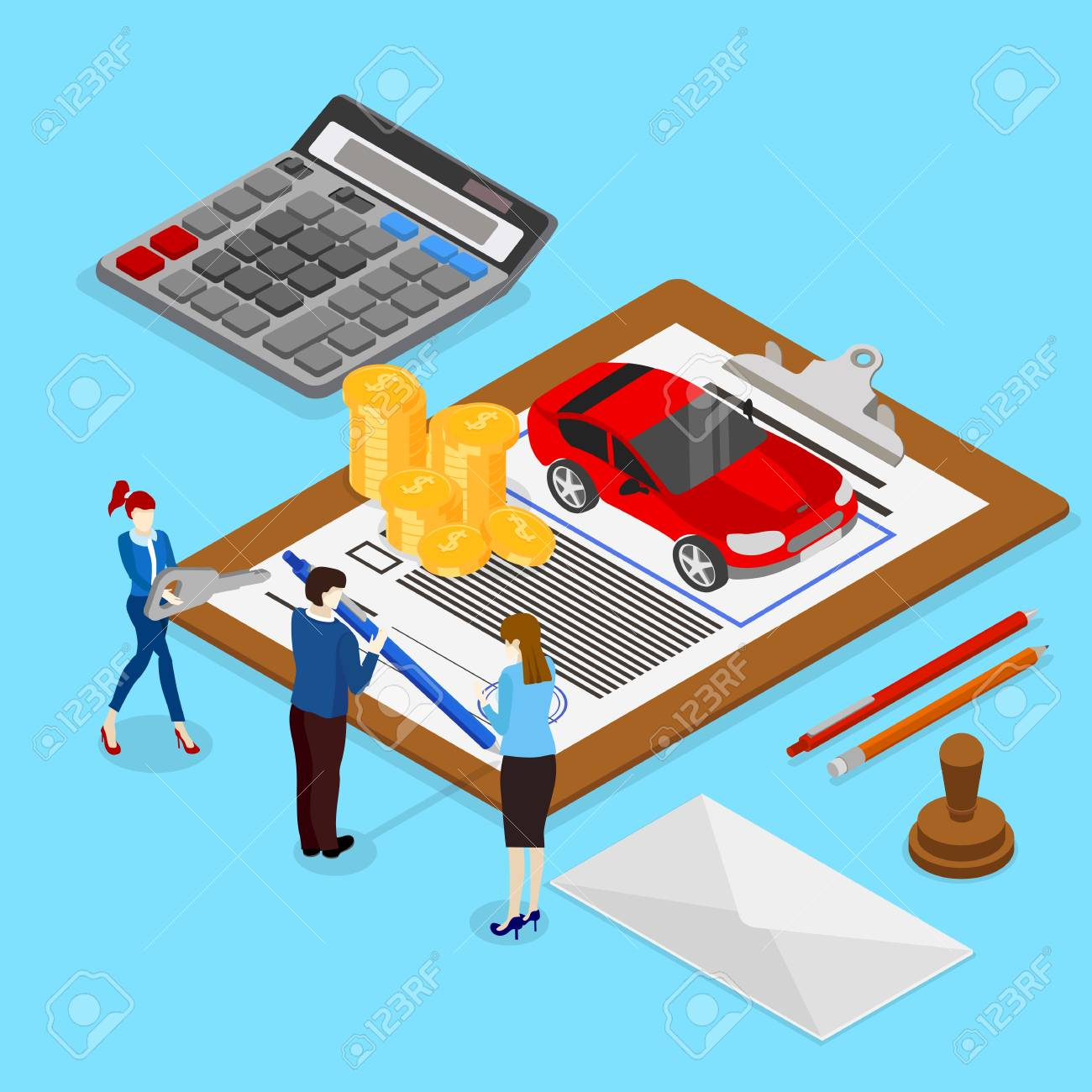 Car valuation and insurance. Isometric illustration with people and car on blue background. Vector 3d design. - 103899646