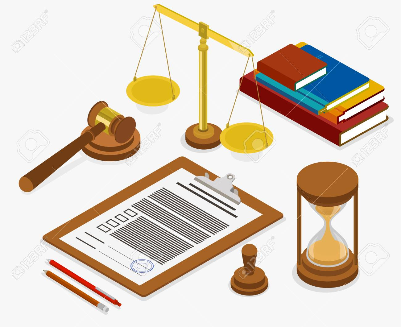 Workplace of judge or lawyer with documents. Isometric illustration on white background. Vector 3d design. - 103981931