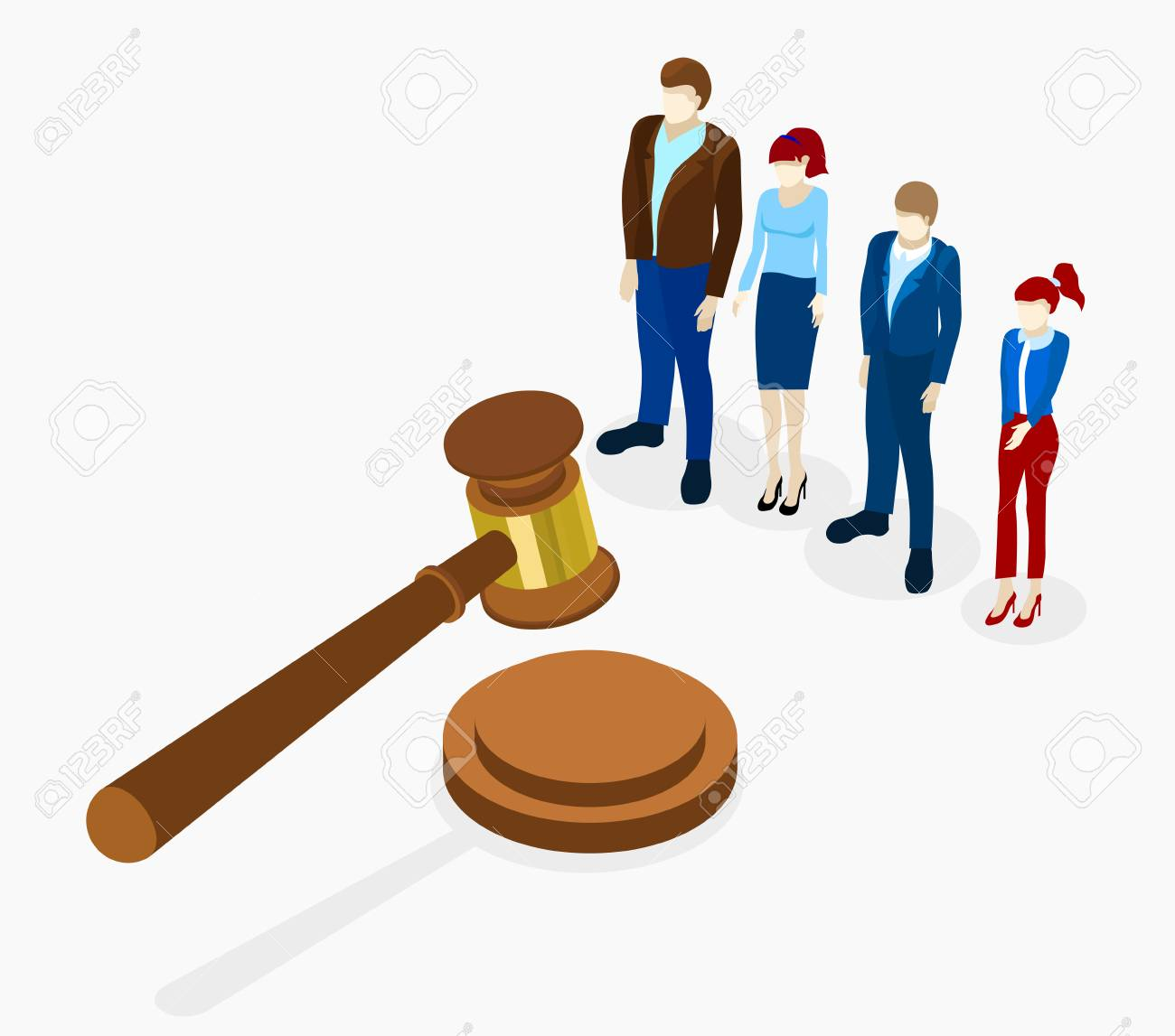 No corruption. Isometric illustration with gavel and people on white background. Vector 3d design. - 103981936