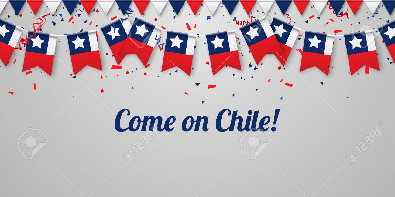 Come on Chile! White festive background with national flags and confetti. Vector paper illustration. - 104413306