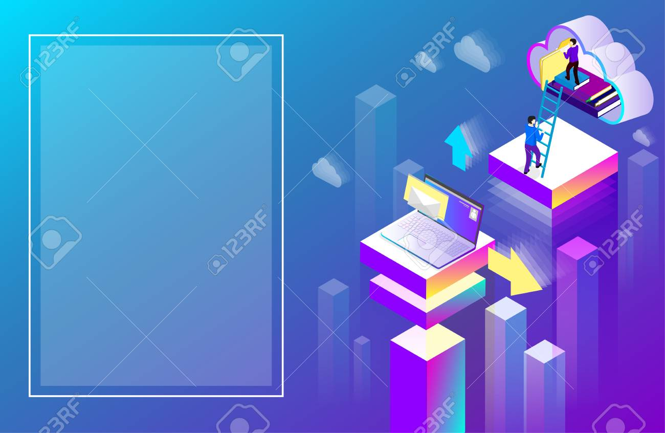 Office or student background laptop used cloud storage. Purple spectrum isometric illustration. Landing page or presentation template. Vector 3d design. - 114937767