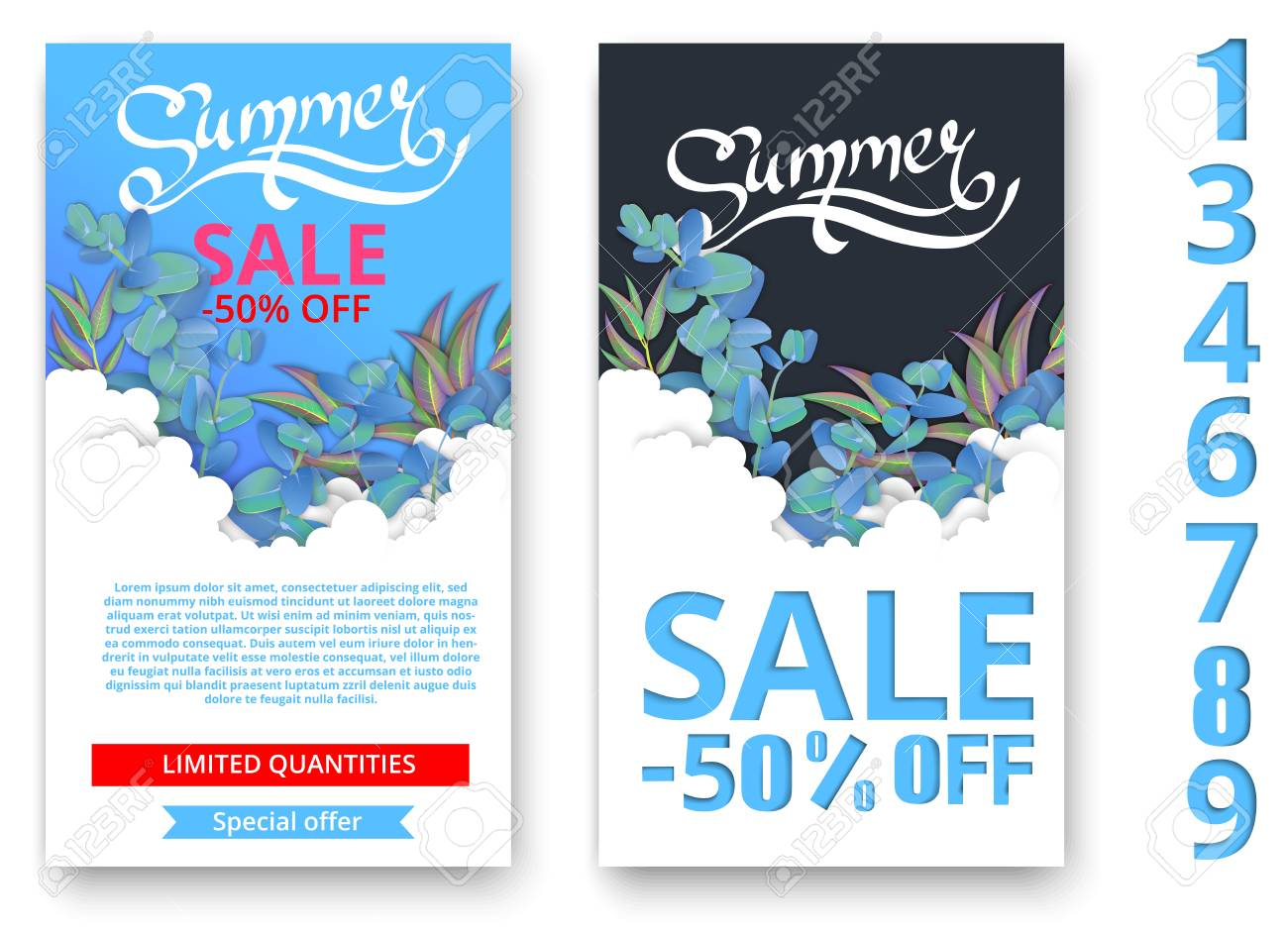 cf4459edd Vector - White and blue summer sale cards with beautiful eucalyptus  blossom. Promotion poster