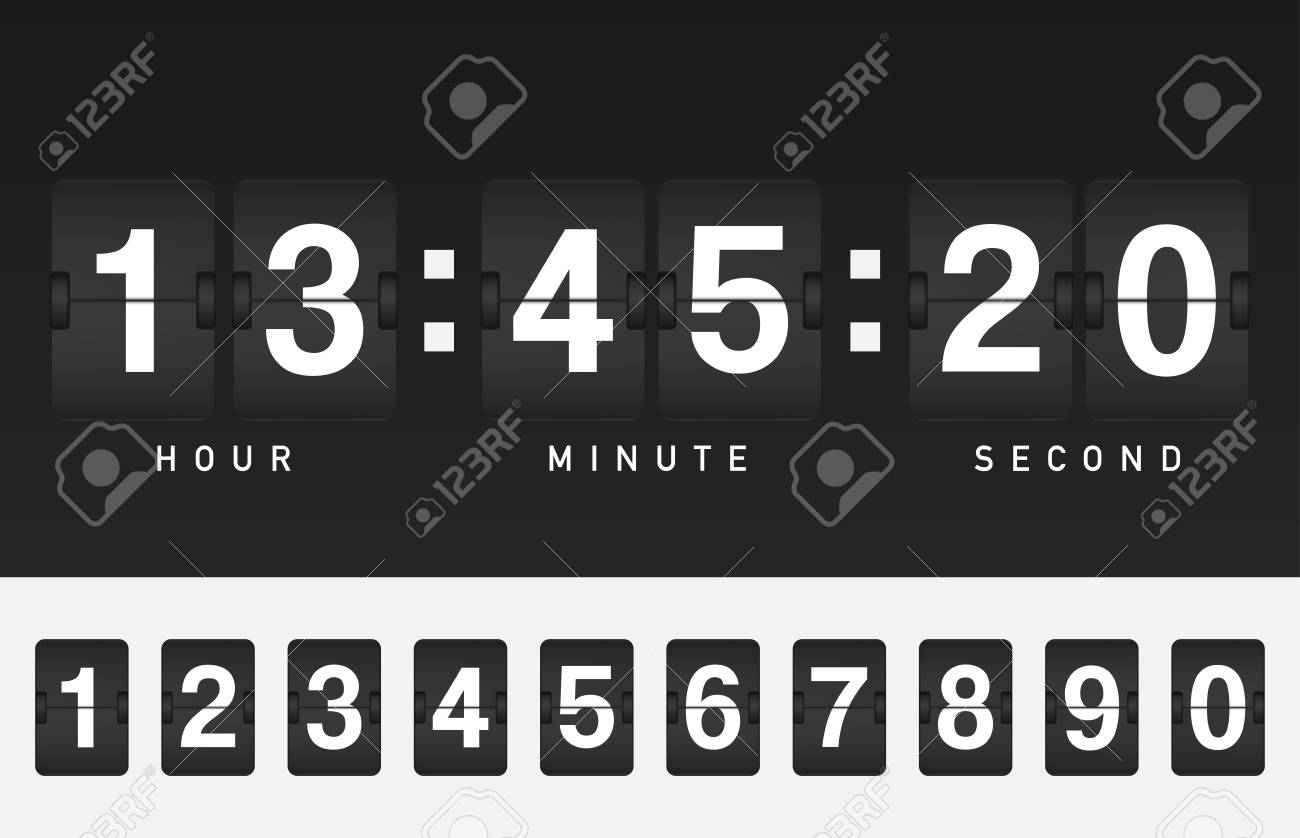 Airport style countdown timer  Vector analog clock counter  Black