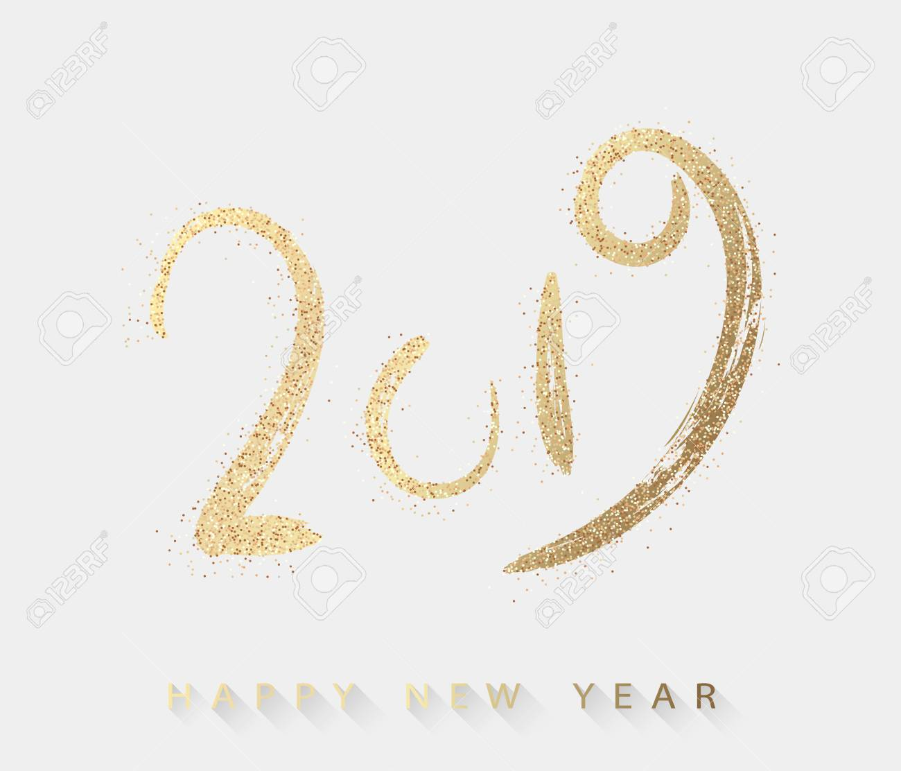 Happy 2019 >> Happy 2019 New Year Greeting Card With Gold Figures Vector Background