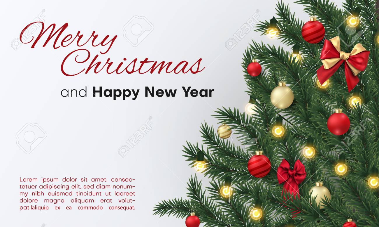 merry christmas and happy new year card with christmas tree landing page template vector