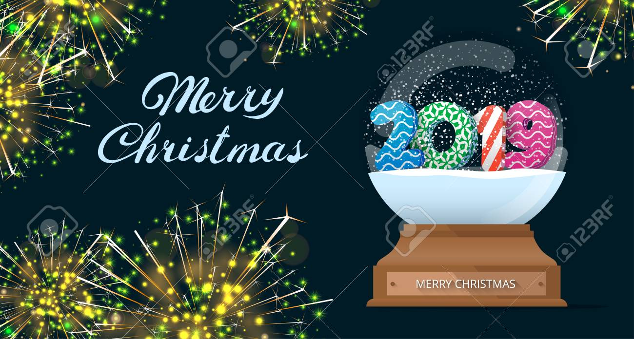 Christmas 2019 Images.Merry Christmas 2019 Poster With Snow Globe And Firework Greeting
