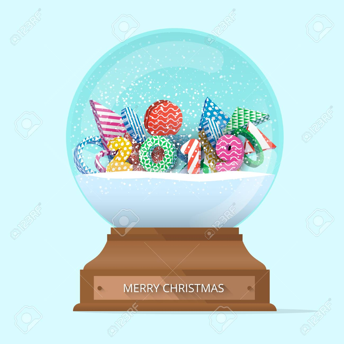 Snow On Christmas 2019 Green Isolated Merry Christmas 2019 Snow Globe. Greeting Card