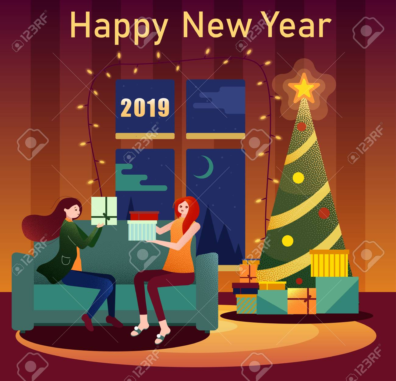 Christmas Gifts For Girls 2019.Happy New Year 2019 Card With Christmas Tree And Girls With Gifts