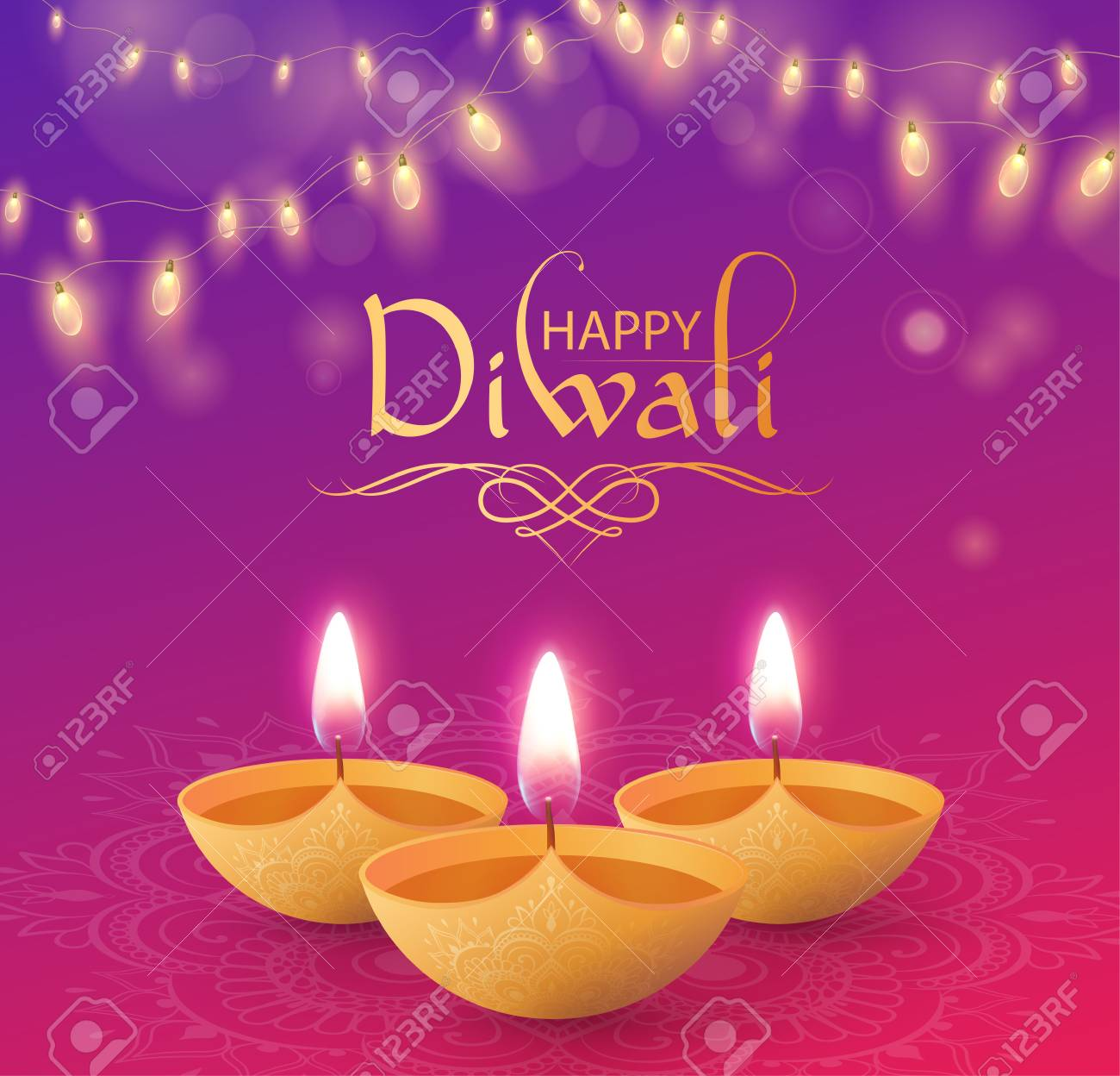 Happy Diwali shiny greeting card with oil lamps and decorative lanterns. Vector background. - 109413333