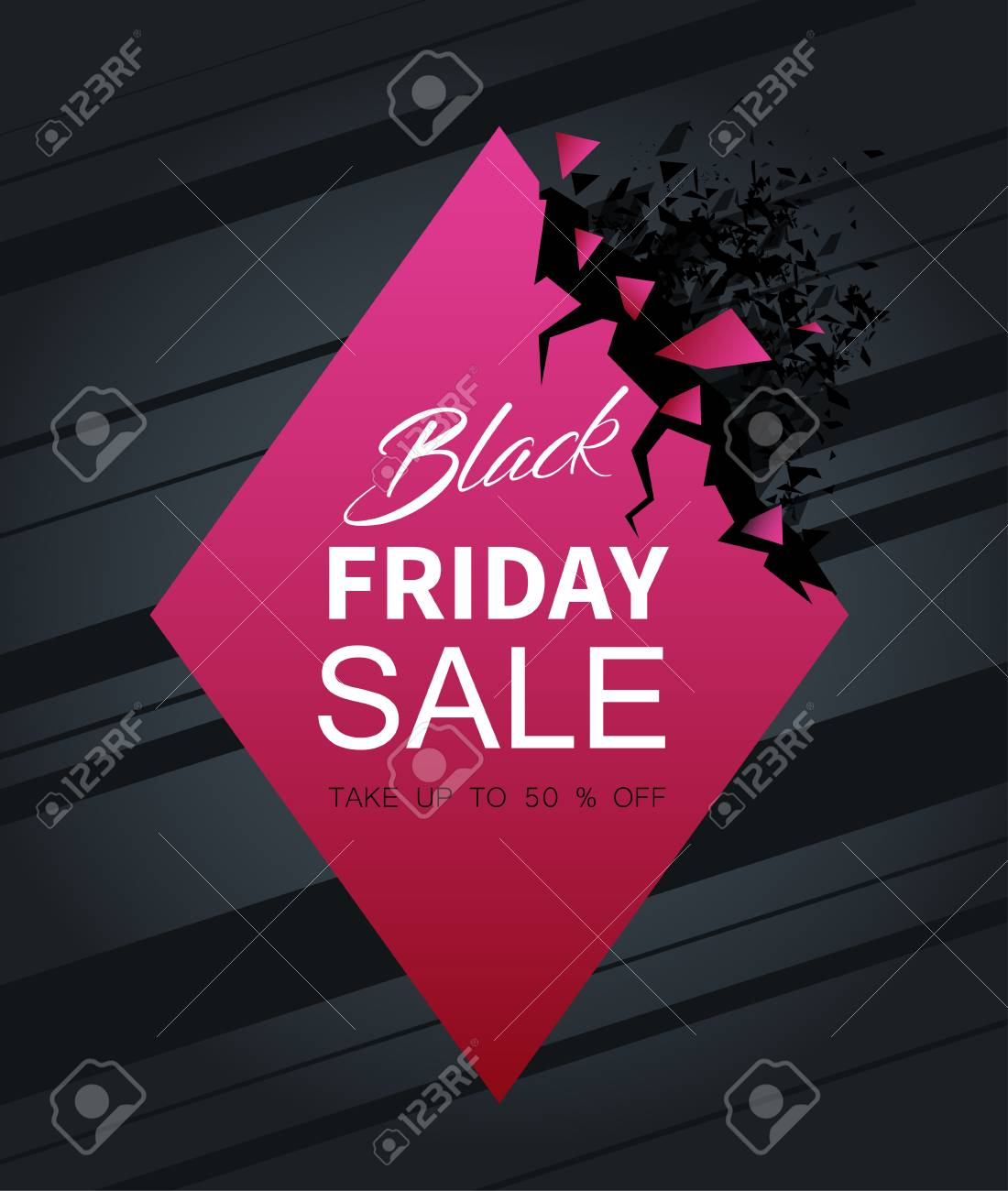 7715b2ecfc Black friday sale pink abstract poster. Up to 50 percent off. Promotion or  advertising