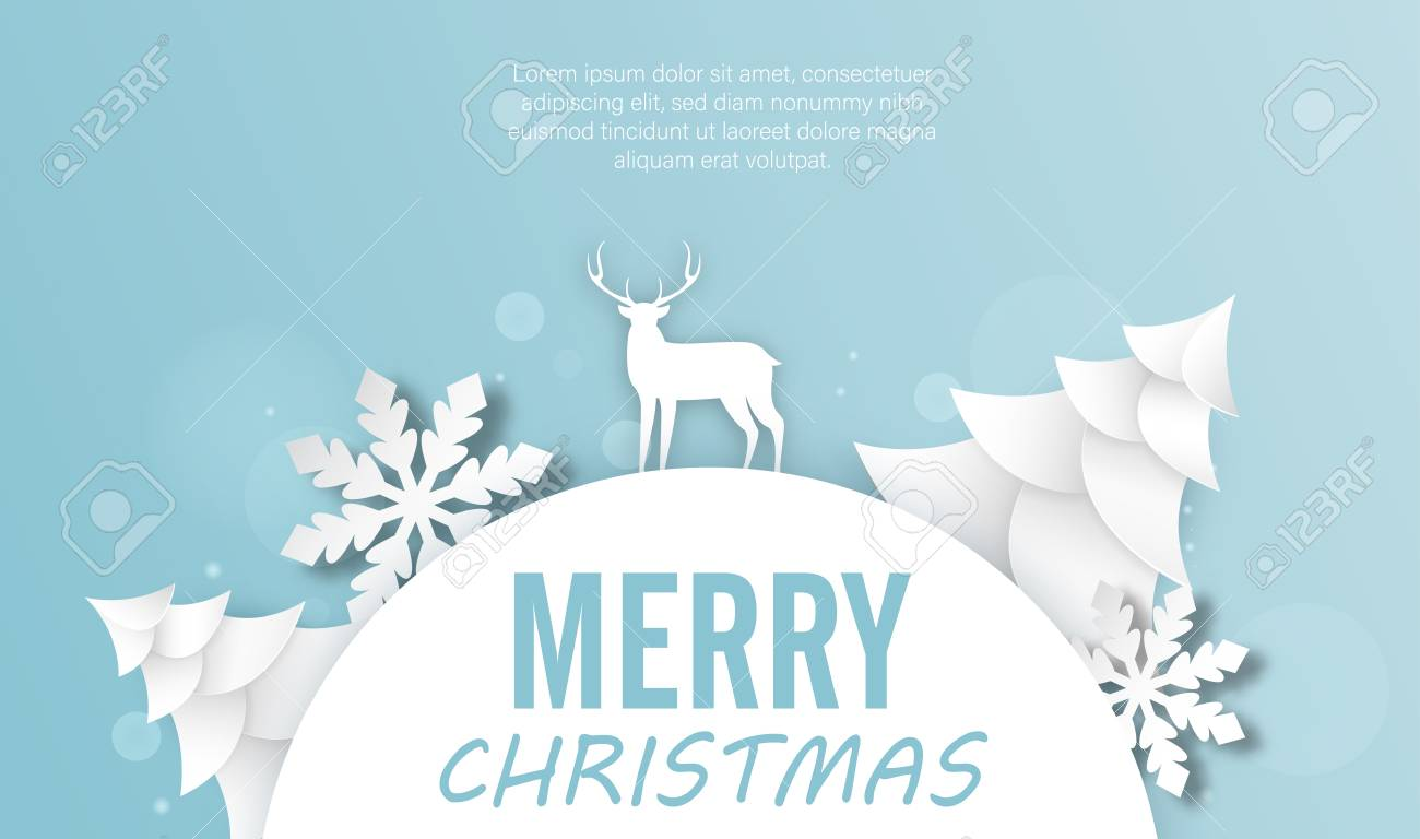 Blue Merry Christmas Poster With Paper Fir Trees Deer And