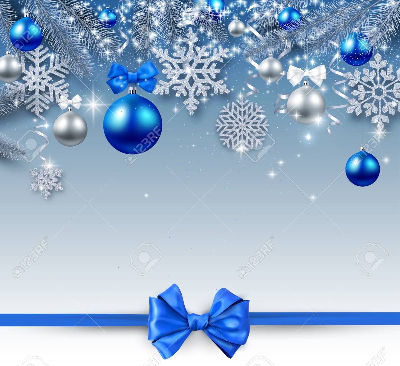 Christmas and New Year shiny card with silver Christmas balls, snowflakes and blue satin ribbon with bow. Vector background. - 127730975
