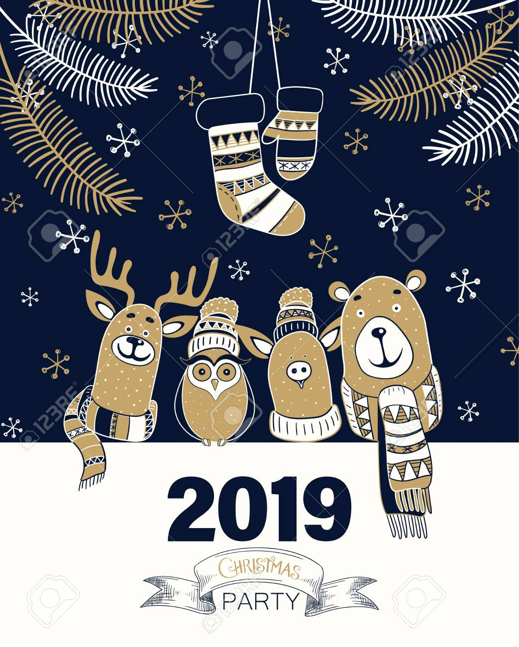 Christmas Party 2019 Clipart.Christmas Party 2019 Blue Poster Or Invitation With Cute Cartoon