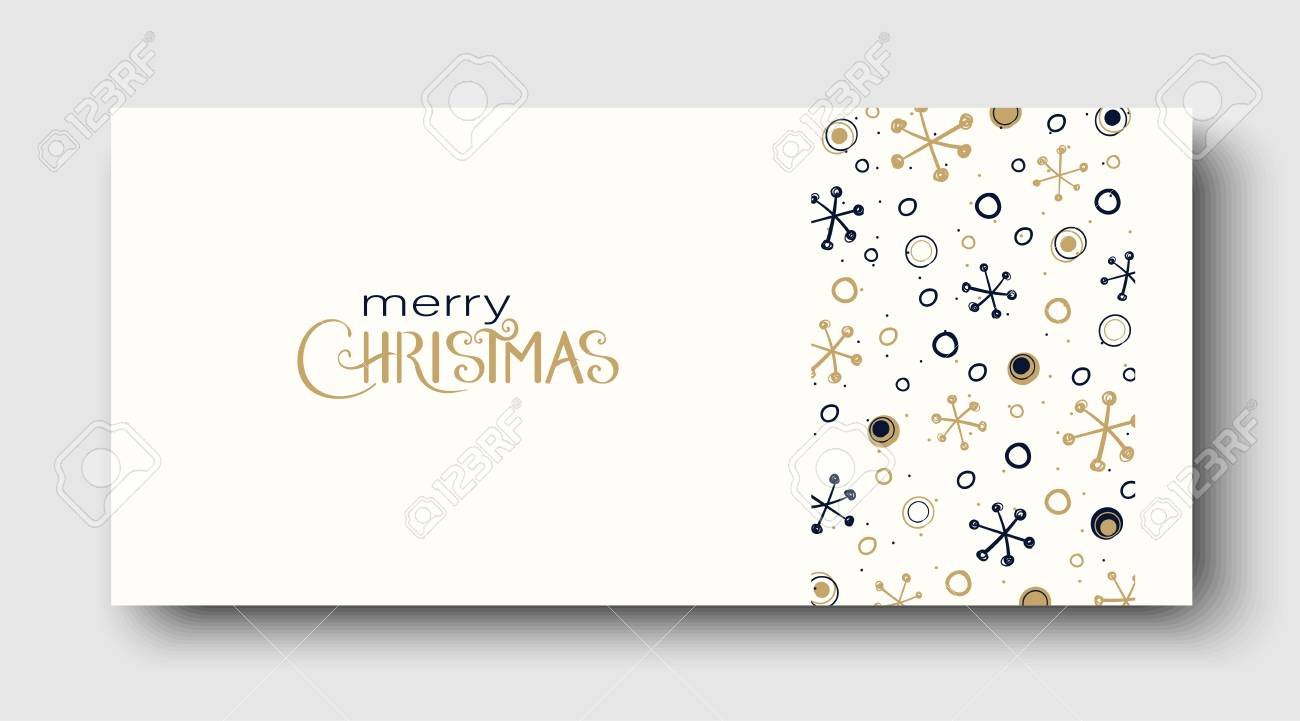 White Merry Christmas greeting card or poster with abstract winter pattern. Vector paper background. - 127730981